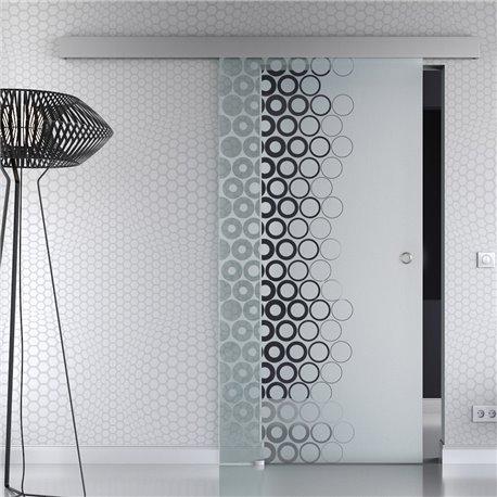 Schiebetür Glas Komplettset Softclose 1025 / 900 / 775 mm Breite kleine Kreise Design modern