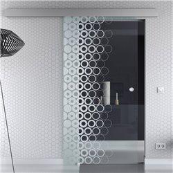 Schiebetür Glas Komplettset Softclose 1025 / 900 / 775 mm Breite kleine Kreise Design modern invers