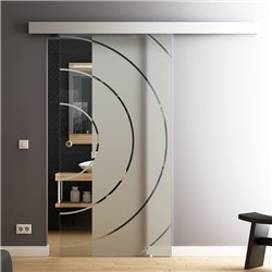 Schiebetür Glas Komplettset Softclose 1025 / 900 / 775 mm Breite Style Bauhaus