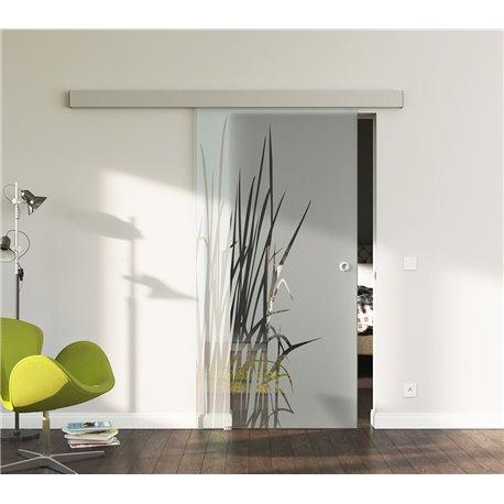 Glasschiebetür Glas Komplettset Softclose 1025 / 900 / 775 mm Breite Kraut-Design