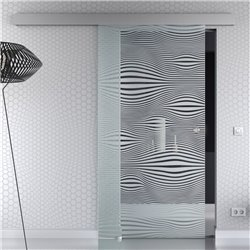 Schiebetür Glas Komplettset Softclose 1025 / 900 / 775 mm Breite Gummi Design