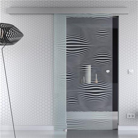 Schiebetür Glas Komplettset Softclose 1025 / 900 / 775 mm Breite Gummi Design invers