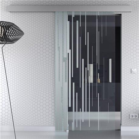 Schiebetür Glas Komplettset Softclose 1025 / 900 / 775 mm Breite senkrechte wirre Streifen invers