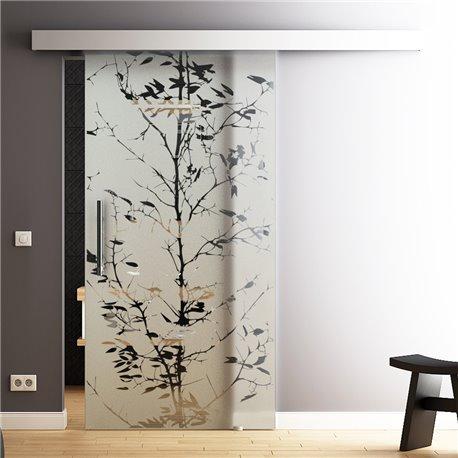 Glasschiebetür Glas Komplettset Softclose 1025 / 900 / 775 mm Breite junger Baum Design