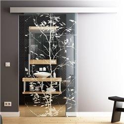 Glasschiebetür Glas Komplettset Softclose 1025 / 900 / 775 mm Breite junger Baum Design invers