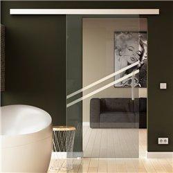 Glasschiebetür 2 schräge Streifen-Design - Schiebe Tür Glas optional mit SoftClose