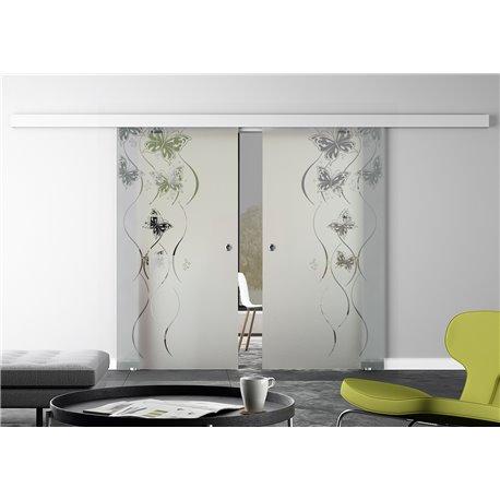 Glasschiebetür Design Schmetterling Basic-Beschlag Levidor / Glaslager.de 2 Scheiben