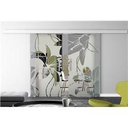 Glasschiebetür Design Orchidee Basic-Beschlag Levidor / Glaslager.de 2 Scheiben