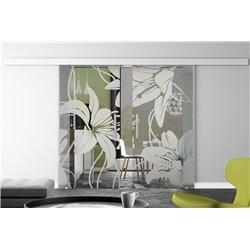 Glasschiebetür Design Orchidee invers Basic-Beschlag Levidor / Glaslager.de 2 Scheiben