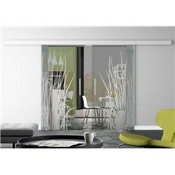 Glasschiebetür Design Kraut invers Basic-Beschlag Levidor / Glaslager.de 2 Scheiben