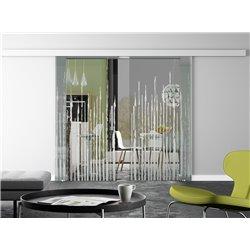 Glasschiebetür Zitter-Design invers Basic-Beschlag Levidor / Glaslager.de 2 Scheiben