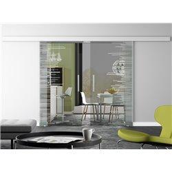 Glasschiebetür Spikes-Design invers Basic-Beschlag Levidor / Glaslager.de 2 Scheiben