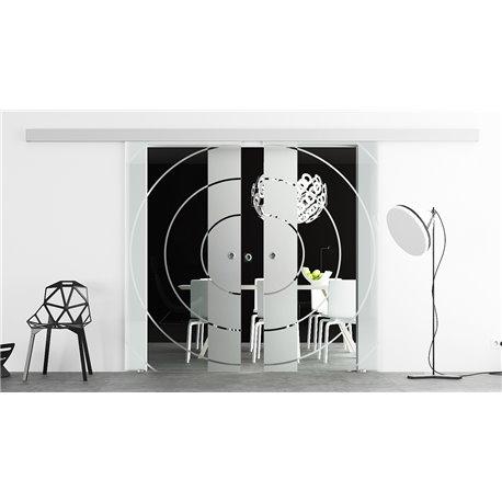 Glasschiebetür Design Bauhaus invers Basic-Beschlag Levidor / Glaslager.de 2 Scheiben