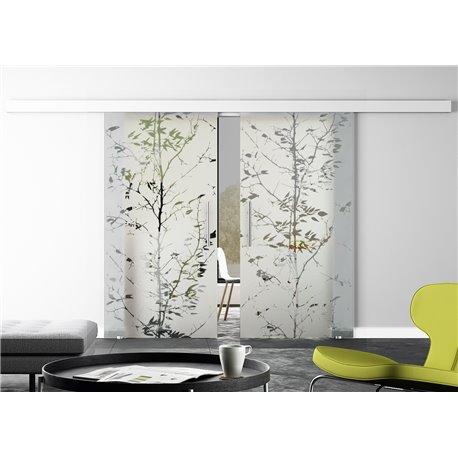 Glasschiebetür Design junger Baum Basic-Beschlag Levidor / Glaslager.de 2 Scheiben