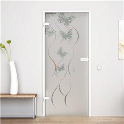 Ganzglastür / Drehtür aus ESG-Glas in Schmetterling-Design für Studio Griff und Studio Bänder