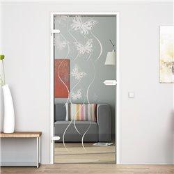 Ganzglastür / Drehtür aus ESG-Glas in Schmetterling-Design invers für Studio Griff und Studio Bänder