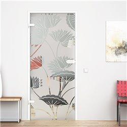 Ganzglastür / Drehtür aus ESG-Glas in Lotus-Design für Studio Griff und Studio Bänder