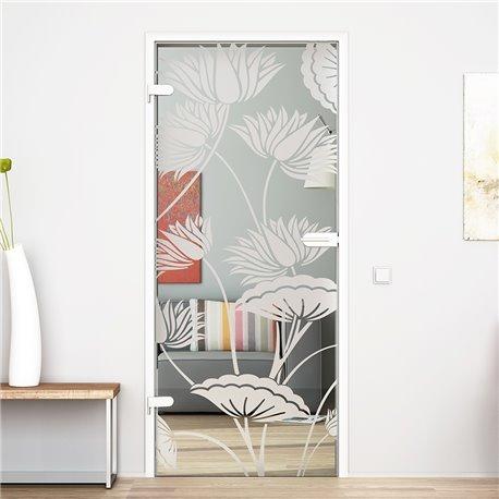 Ganzglastür / Drehtür aus ESG-Glas in Lotus-Design invers für Studio Griff und Studio Bänder