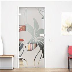 Ganzglastür / Drehtür aus ESG-Glas in Orchidee-Design für Studio Griff und Studio Bänder
