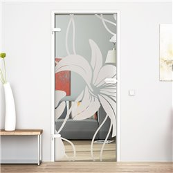 Ganzglastür / Drehtür aus ESG-Glas in Orchidee-Design invers für Studio Griff und Studio Bänder