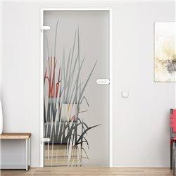 Ganzglastür / Drehtür aus ESG-Glas in Kraut-Design für Studio Griff und Studio Bänder