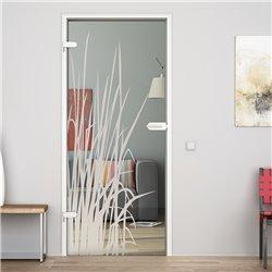 Ganzglastür / Drehtür aus ESG-Glas in Kraut-Design invers für Studio Griff und Studio Bänder
