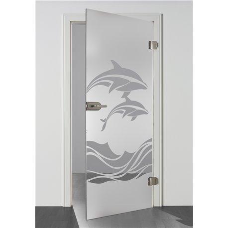 Ganzglastür / Drehtür aus ESG-Glas in Delphin-Design für Studio Griff und Studio Bänder