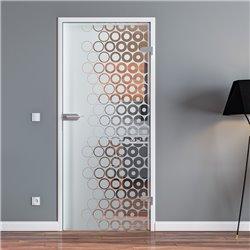 Ganzglastür / Drehtür aus ESG-Glas in kleine Kreise Design für Studio Griff und Studio Bänder