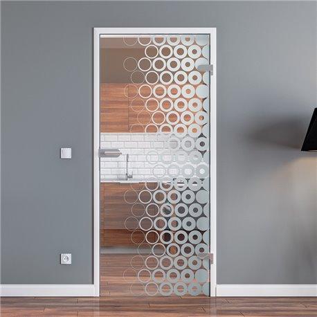 Ganzglastür / Drehtür aus ESG-Glas in kleine Kreise Design invers für Studio Griff und Studio Bänder