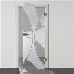 Ganzglastür / Drehtür aus ESG-Glas in Check-Design für Studio Griff und Studio Bänder