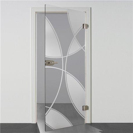 Ganzglastür / Drehtür aus ESG-Glas in Check-Design invers für Studio Griff und Studio Bänder