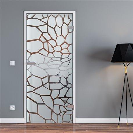 Ganzglastür / Drehtür aus ESG-Glas in Krokodil-Haut-Design für Studio Griff und Studio Bänder