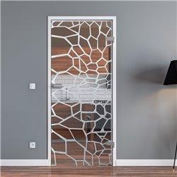 Ganzglastür / Drehtür aus ESG-Glas in Krokodil-Haut-Design invers für Studio Griff und Studio Bänder