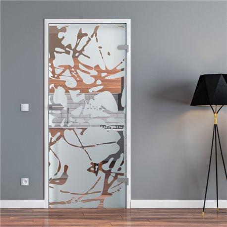 Ganzglastür / Drehtür aus ESG-Glas in Splash-Design für Studio Griff und Studio Bänder