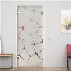 Ganzglastür / Drehtür aus ESG-Glas in Gitter-Design für Studio Griff und Studio Bänder