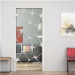 Ganzglastür / Drehtür aus ESG-Glas in Gitter-Design invers für Studio Griff und Studio Bänder
