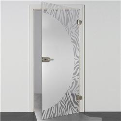 Ganzglastür / Drehtür aus ESG-Glas in Zebra-Design für Studio Griff und Studio Bänder
