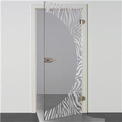 Ganzglastür / Drehtür aus ESG-Glas in Zebra-Design invers für Studio Griff und Studio Bänder
