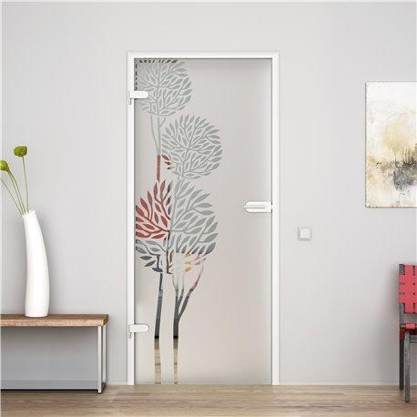 Ganzglastür / Drehtür aus ESG-Glas in Fiscus-Design für Studio Griff und Studio Bänder
