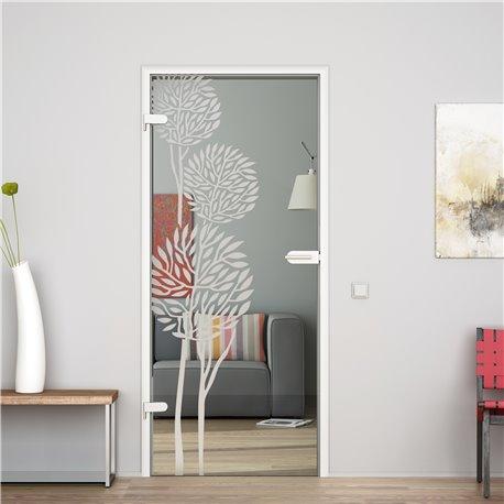 Ganzglastür / Drehtür aus ESG-Glas in Fiscus-Design invers für Studio Griff und Studio Bänder