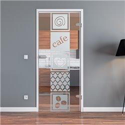 Ganzglastür / Drehtür aus ESG-Glas in Küchen-Design invers (5) für Studio Griff und Studio Bänder