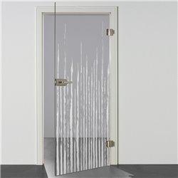 Ganzglastür / Drehtür aus ESG-Glas in Zitter-Design invers für Studio Griff und Studio Bänder