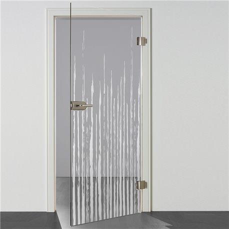 Ganzglastür / Drehtür aus ESG-Glas in Zitter-Design für Studio Griff und Studio Bänder