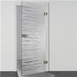 Ganzglastür / Drehtür aus ESG-Glas in Zitter-Design waagerecht für Studio Griff und Studio Bänder