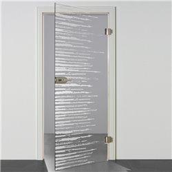 Ganzglastür / Drehtür aus ESG-Glas in Zitter-Design waagerecht invers für Studio Griff und Studio Bänder