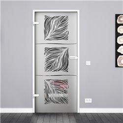 Ganzglastür / Drehtür aus ESG-Glas in Pfau-Design für Studio Griff und Studio Bänder