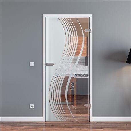 Ganzglastür / Drehtür aus ESG-Glas in geschwungenen Linien für Studio Griff und Studio Bänder