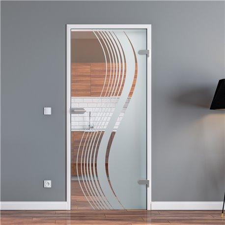 Ganzglastür / Drehtür aus ESG-Glas in geschwungenen Linien invers für Studio Griff und Studio Bänder