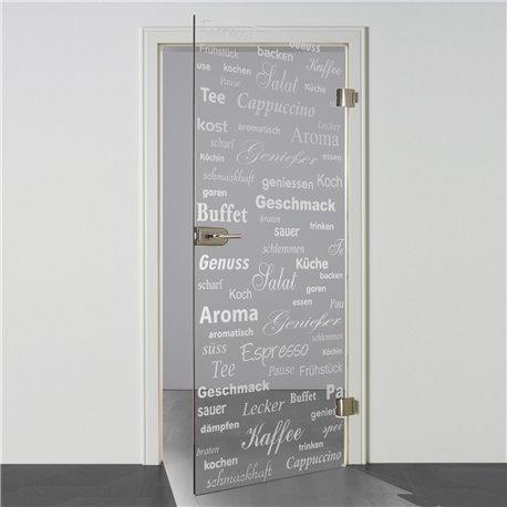 Ganzglastür / Drehtür aus ESG-Glas in Küchen-Design invers (6) für Studio Griff und Studio Bänder