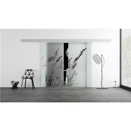 Glasschiebetür Design Blätter Basic-Beschlag Levidor / Glaslager.de 2 Scheiben
